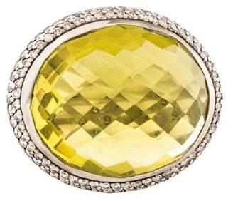 David Yurman Diamond & Peridot Cocktail Ring
