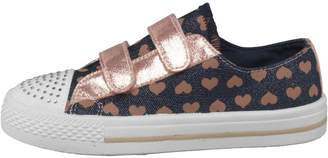 Board Angels Girls Denim Velcro Pumps With Heart Print Denim/Rose Gold