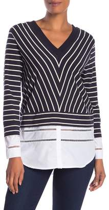 French Connection V-Neck Stripe Knit Tee