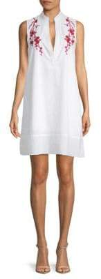 Saks Fifth Avenue RED Embroidered Cotton Shift Dress