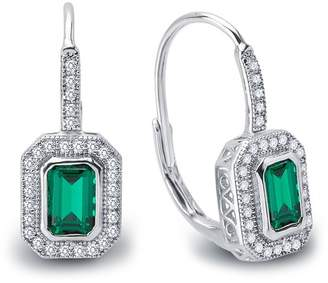 Lafonn Platinum Over Sterling Silver Micro Pave White Emerald Cut Simulated Diamond Earrings