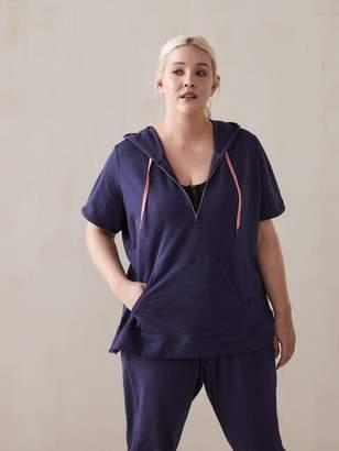 Short-Sleeve Hoodie with Half-Zip