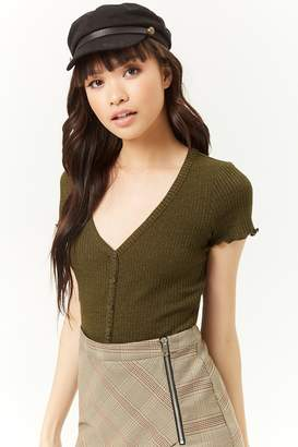Forever 21 Marled Ribbed Lettuce-Edge Top
