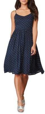 BB Dakota Polka-Dot Strappy Flare Dress