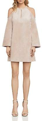 BCBGMAXAZRIA Laguna Cold-Shoulder Faux Suede Dress