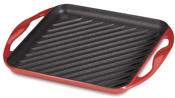 "Le Creuset Red 9 1/2"" Skinny Square Grill"