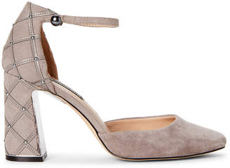 Karl Lagerfeld Paris Pebble Grey Gracy Suede Ankle Strap Pumps
