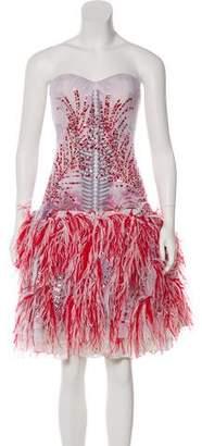 Prabal Gurung Feather-Trimmed Sequined Dress