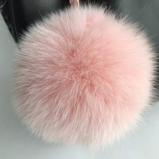 ONLYFURYOU Real Fox Fur Ball Keychain Fur Pompoms Keychain Keyring for Charm Bag Pendant