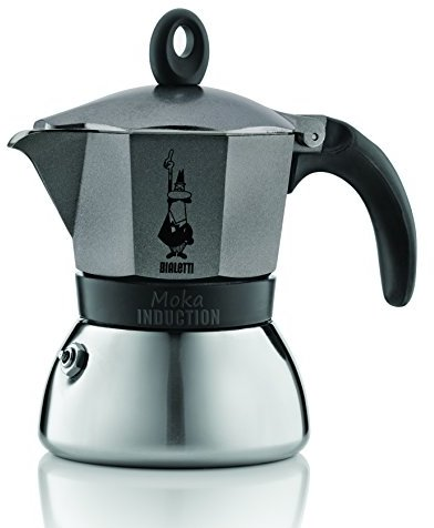 Bialetti Moka Induction Coffee Maker,, silver Anthracite, 3 Cup