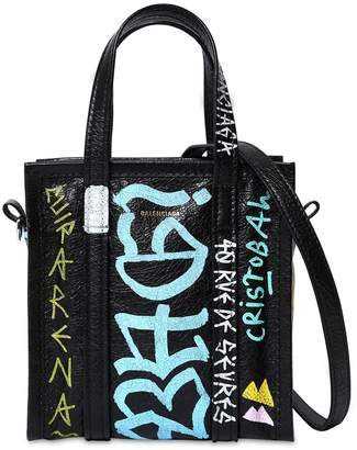 Balenciaga Xxs Bazar Graffiti Leather Tote Bag