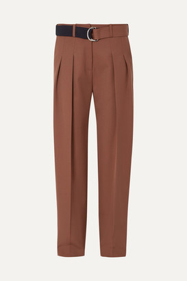 Victoria Beckham Victoria, Belted Pleated Wool Tapered Pants - Brown