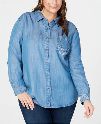 Style&Co. Style & Co Plus Size Bandana-Print Button-Up Shirt