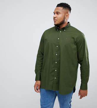 Tommy Hilfiger Big & Tall stretch poplin shirt flag logo button down in dark green