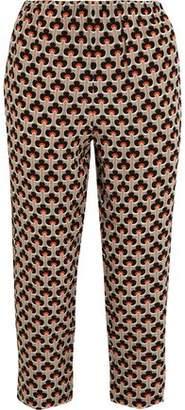 Marni Cropped Printed Silk-Crepe Straight-Leg Pants
