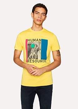 Paul Smith Men's Slim-Fit Yellow 'Human Resource' Print Organic-Cotton T-Shirt