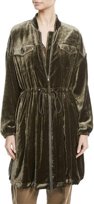 Brunello Cucinelli Zip-Front Drawstring-Waist Long-Sleeve Liquid Velvet Jacket