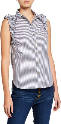 MICHAEL Michael Kors Striped Sleeveless Ruffle Button-Down Top