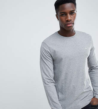 Jack Wills Long Sleeve Logo T-Shirt In Gray Marl
