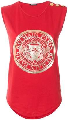 Balmain button shoulder detail logo print T-shirt