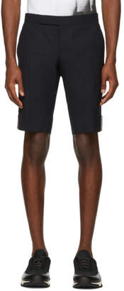Thom Browne Navy Side Zip Low-Rise Skinny Shorts
