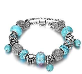 NYKKOLA Beaded Bracelet Womens Handmade Retro Turquoise Rhinestone Carved Sterling Plated Snake Chain Charm Bracelet