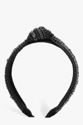 boohoo Simone Embellished Twist Knot Headband