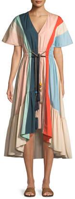 Peter Pilotto V-Neck Short-Sleeve Belted Multicolor Cotton Dress