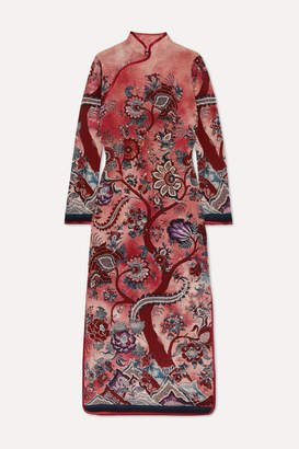 F.R.S For Restless Sleepers Satin-trimmed Floral-print Silk Crepe De Chine Maxi Dress - Pink