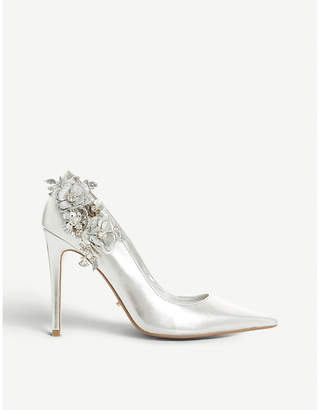 Dune Belelflower floral metallic leather courts