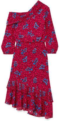 Saloni Lexie Asymmetric Pleated Printed Silk Crepe De Chine Dress - Red