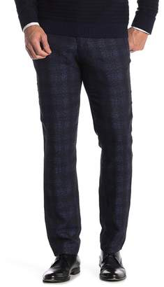 Ted Baker Dortro Navy Check Trim Fit Flat Front Trousers
