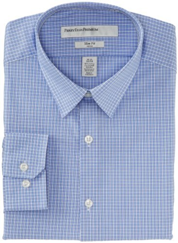 Perry Ellis Men's Premium City Fit Mini-Check Dress Shirt