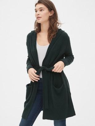Gap Boucle Longline Hooded Cardigan Sweater