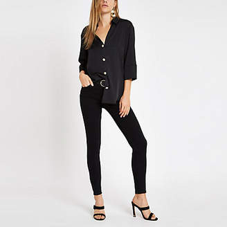 River Island Black button front bar back satin blouse
