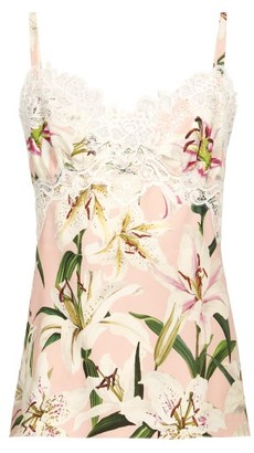 Dolce & Gabbana Lily Print Lace Trim Silk Charmeuse Cami Top - Womens - Pink Multi
