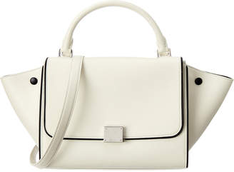 Celine White Calfskin Leather Small Trapeze Bag