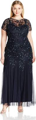 Adrianna Papell Women's Plus Size Floral Beaded Floor Length Gown with Godets