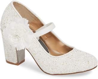 Badgley Mischka Collection Kylie Flower Glitter Pump