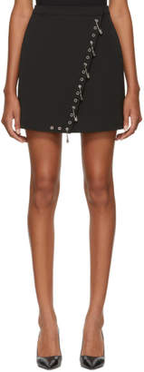 Versus Black Safety Pin and Grommet Fold Over Miniskirt