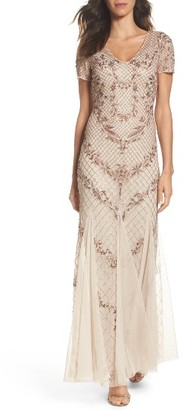 Women's Adrianna Papell Beaded Mesh Mermaid Gown $379 thestylecure.com
