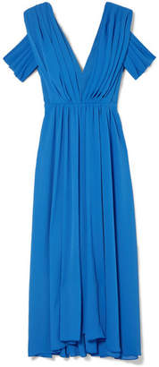 Emilia Wickstead Anderson Draped Matelassé Midi Dress - Blue