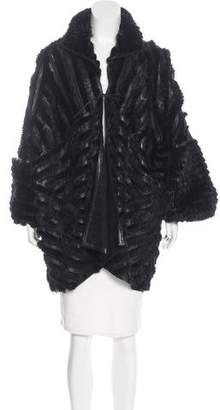 Fendi Mink & Leather-Trimmed Coat