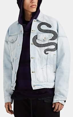 Amiri Men's Embroidered-Sequined-Snake Denim Trucker Jacket - Blue