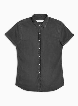Topman Mens Grey Stretch Skinny Denim Shirt