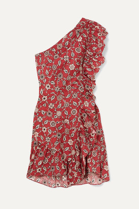 Etoile Isabel Marant Teller One-shoulder Ruffled Printed Linen Mini Dress - Red