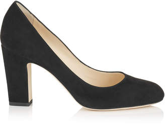 Jimmy Choo BILLIE 85 Navy Suede Round Toe Pumps with Chunky Heel