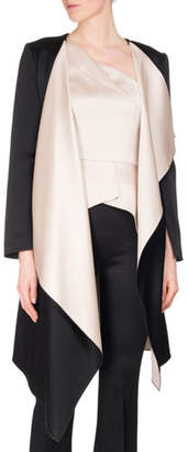 Roland Mouret Studhan Draped Satin Open-Front Coat with Contrast Lining