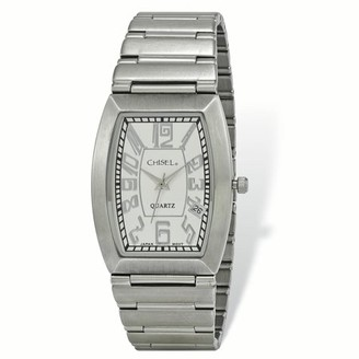 Primal Steel Mens Chisel Stainless Steel White Tonneau Dial Watch