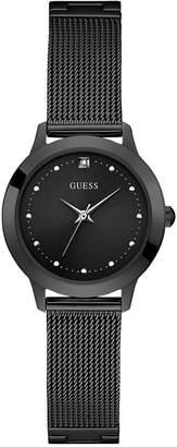 GUESS Women Diamond-Accent Black Stainless Steel Mesh Bracelet Watch 30mm